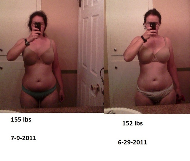 Before and After 40 lbs Weight Loss 5'5 Female 155 lbs to 115 lbs