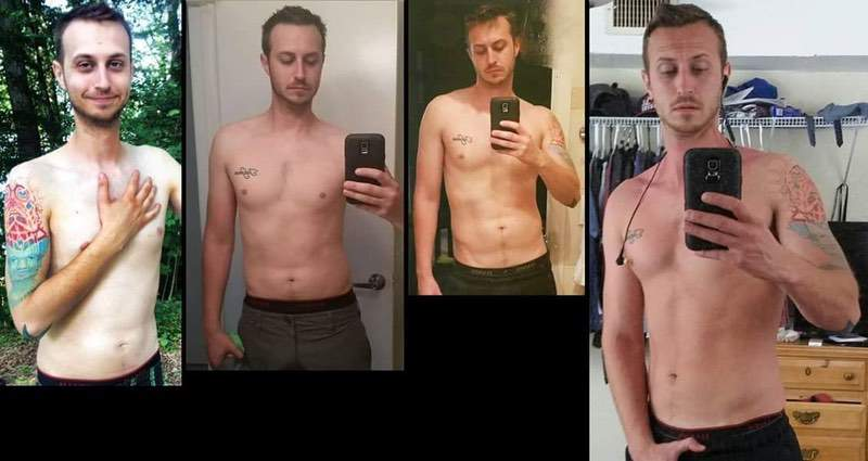 6 foot 1 Male Before and After 35 lbs Weight Gain 135 lbs to 170 lbs