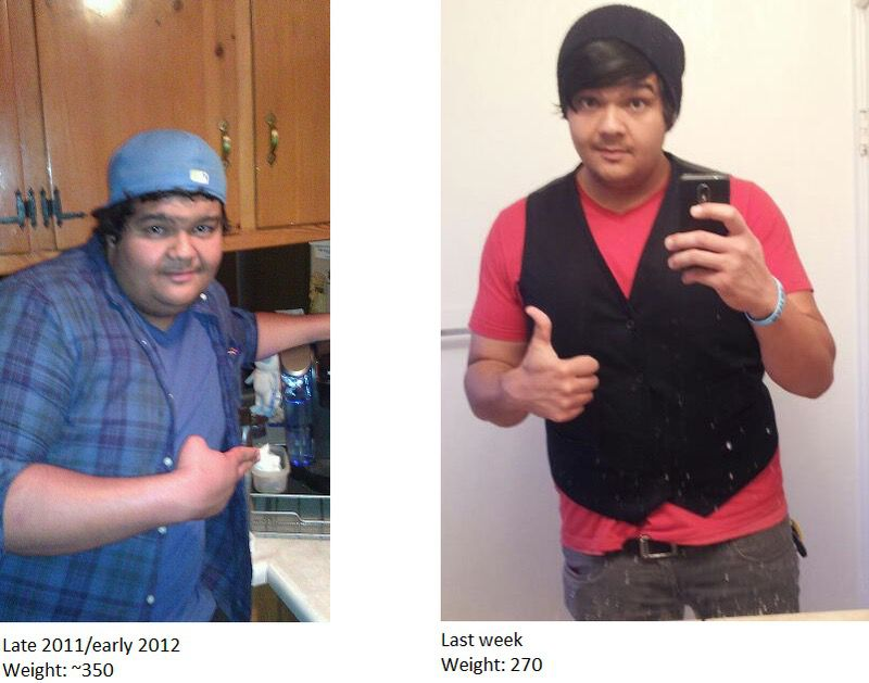 80 lbs Fat Loss 6 foot 3 Male 350 lbs to 270 lbs