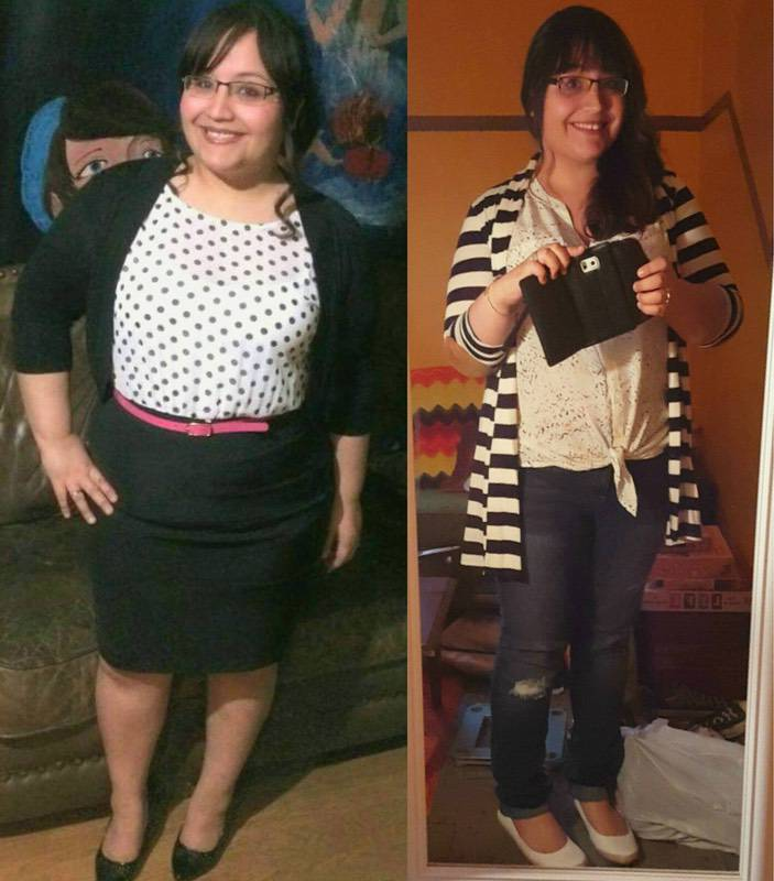 5 foot 2 Female Before and After 28 lbs Fat Loss 218 lbs to 190 lbs