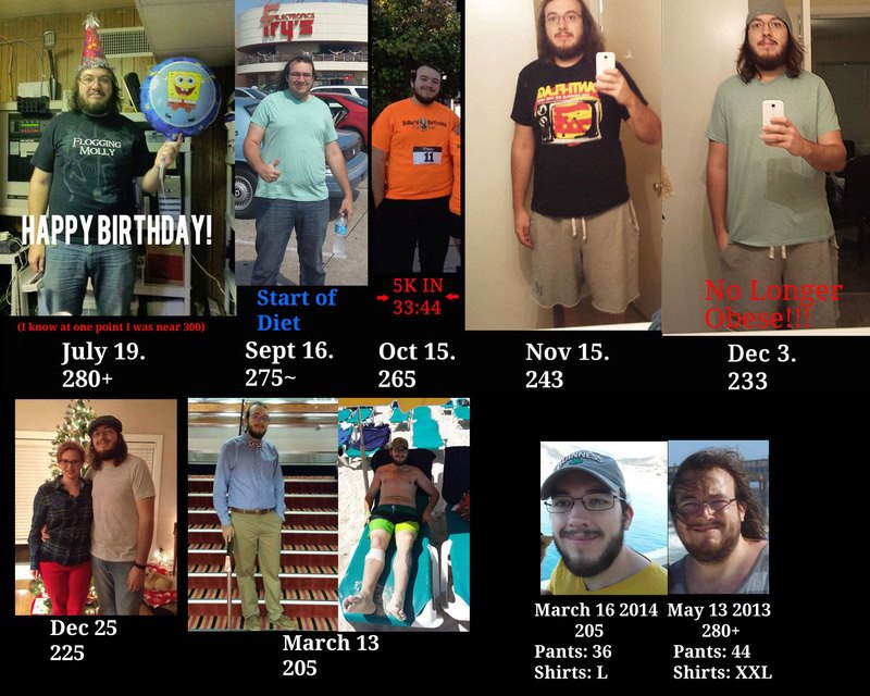 6 foot 3 Male 70 lbs Fat Loss Before and After 275 lbs to 205 lbs