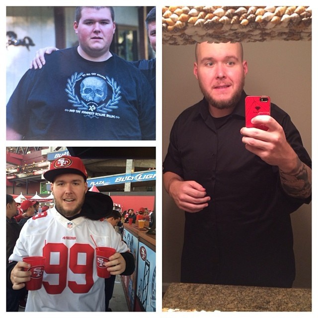 6 feet 4 Male Before and After 148 lbs Weight Loss 390 lbs to 242 lbs