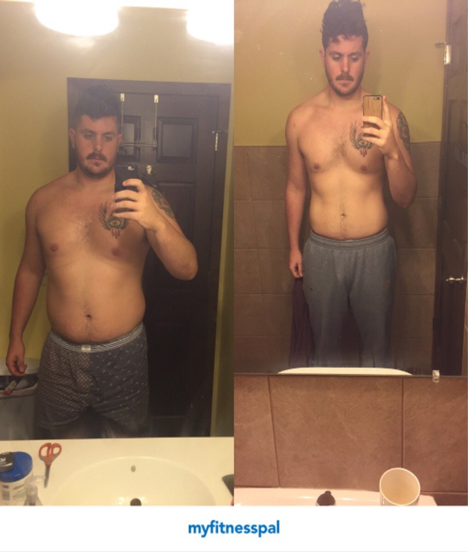 Before and After 48 lbs Fat Loss 6'6 Male 308 lbs to 260 lbs
