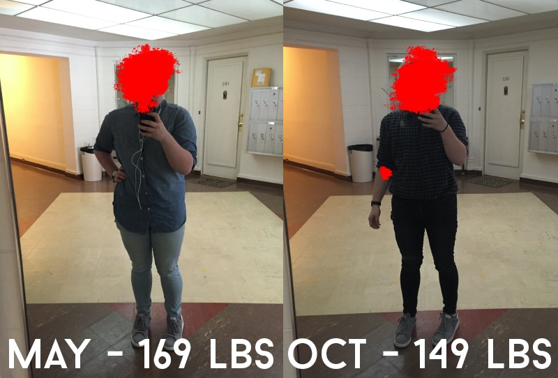 20 lbs Fat Loss Before and After 5'2 Male 169 lbs to 149 lbs