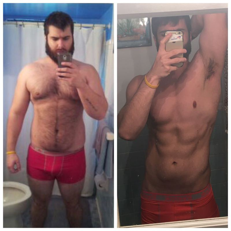 Before and After 90 lbs Fat Loss 6 feet 1 Male 272 lbs to 182 lbs