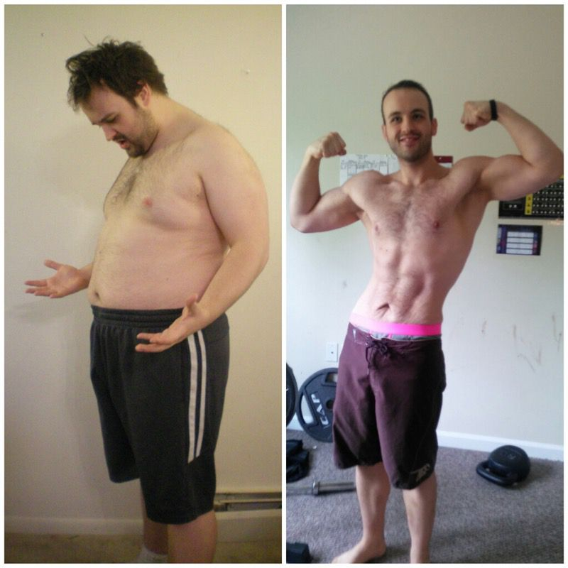 Before and After 75 lbs Weight Loss 5'9 Male 251 lbs to 176 lbs