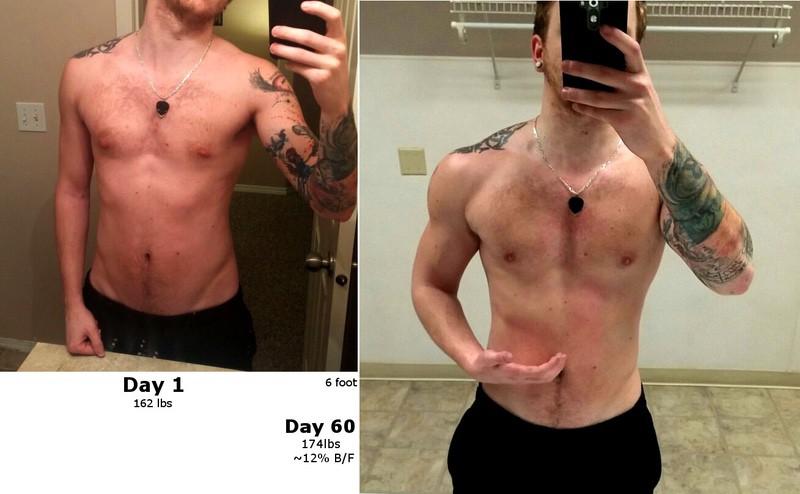 6 foot Male 12 lbs Muscle Gain 162 lbs to 174 lbs