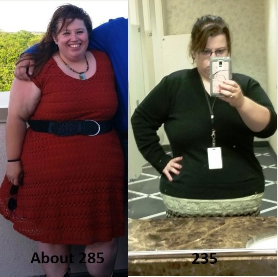 4 foot 11 Female Before and After 50 lbs Weight Loss 285 lbs to 235 lbs