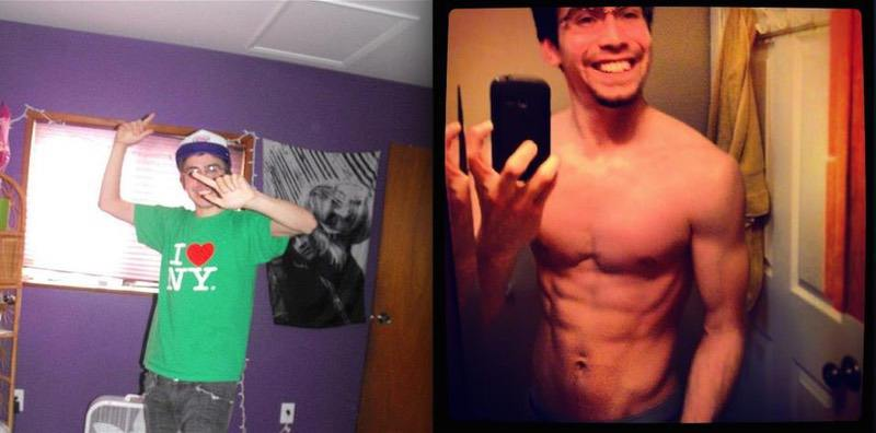 40 lbs Weight Gain Before and After 5 foot 11 Male 120 lbs to 160 lbs