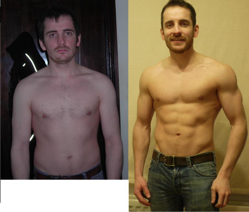 22 lbs Muscle Gain Before and After 5 foot 9 Male 145 lbs to 167 lbs