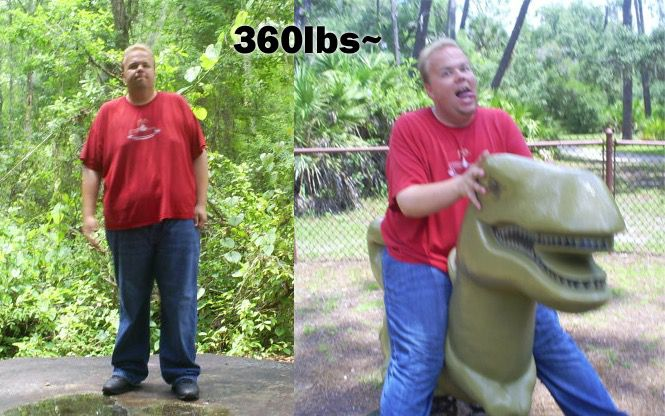 Before and After 100 lbs Fat Loss 6 foot 1 Male 360 lbs to 260 lbs