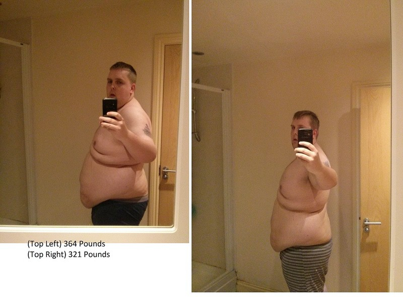 5 feet 11 Male Before and After 43 lbs Fat Loss 364 lbs to 321 lbs