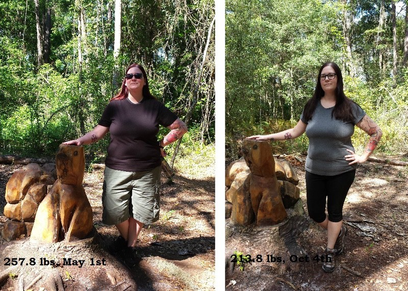5 foot Female Before and After 54 lbs Weight Loss 267 lbs to 213 lbs