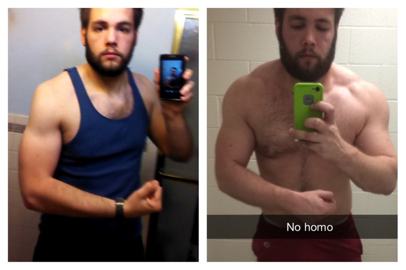 Before and After 32 lbs Muscle Gain 5 feet 11 Male 193 lbs to 225 lbs