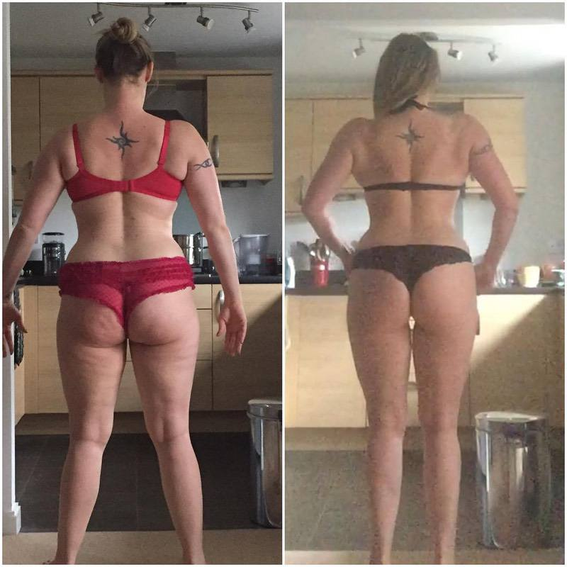 Before and After 24 lbs Fat Loss 5'8 Female 182 lbs to 158 lbs
