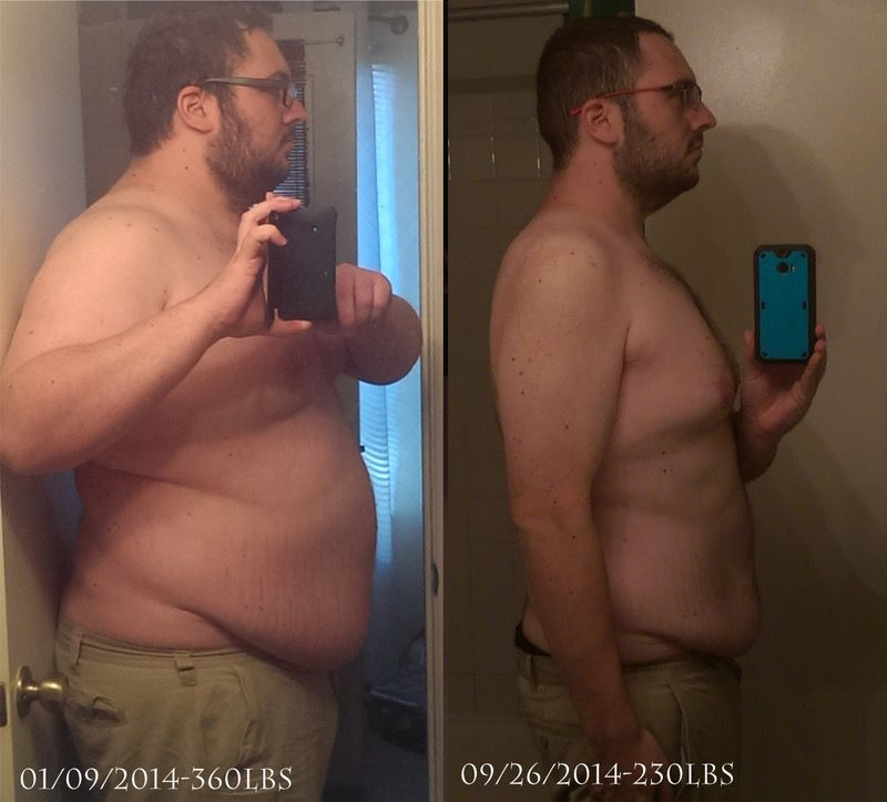 6 feet 1 Male Before and After 130 lbs Fat Loss 360 lbs to 230 lbs