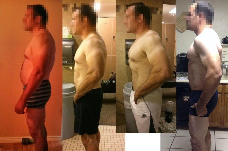 Before and After 15 lbs Fat Loss 6 foot Male 250 lbs to 235 lbs