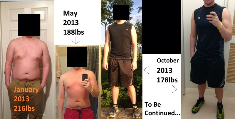 5 foot Male Before and After 38 lbs Fat Loss 216 lbs to 178 lbs