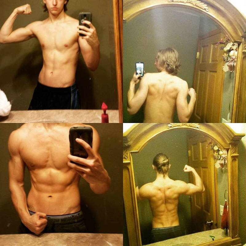 Before and After 42 lbs Muscle Gain 5'11 Male 128 lbs to 170 lbs