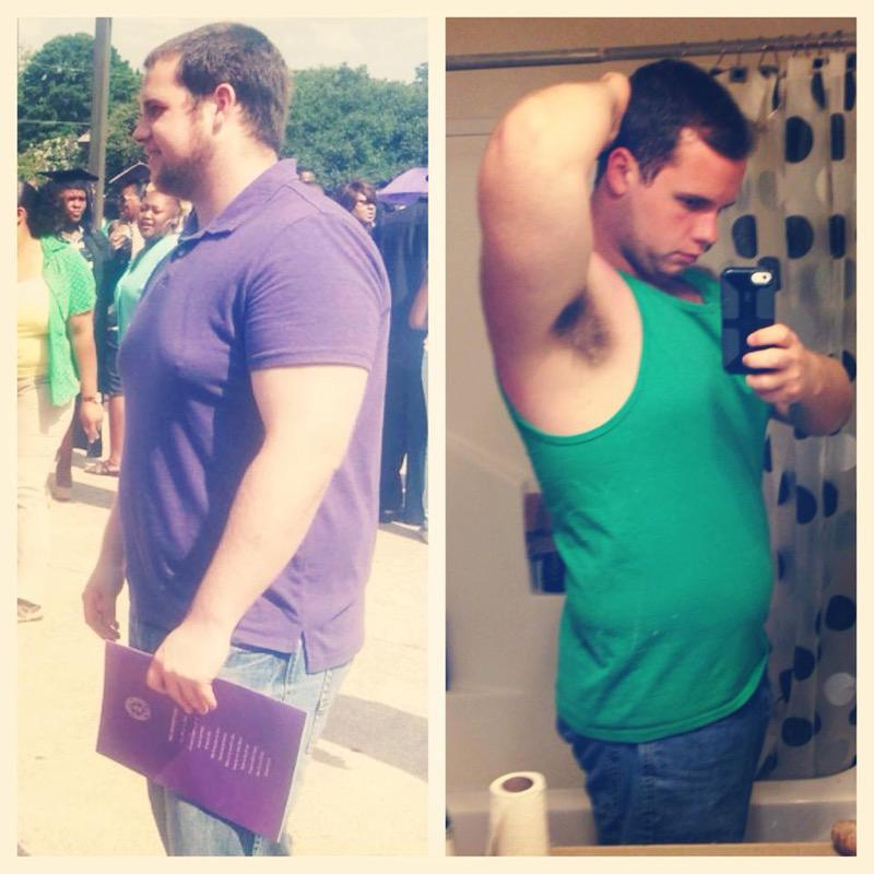 42 lbs Fat Loss Before and After 5 foot 7 Male 262 lbs to 220 lbs