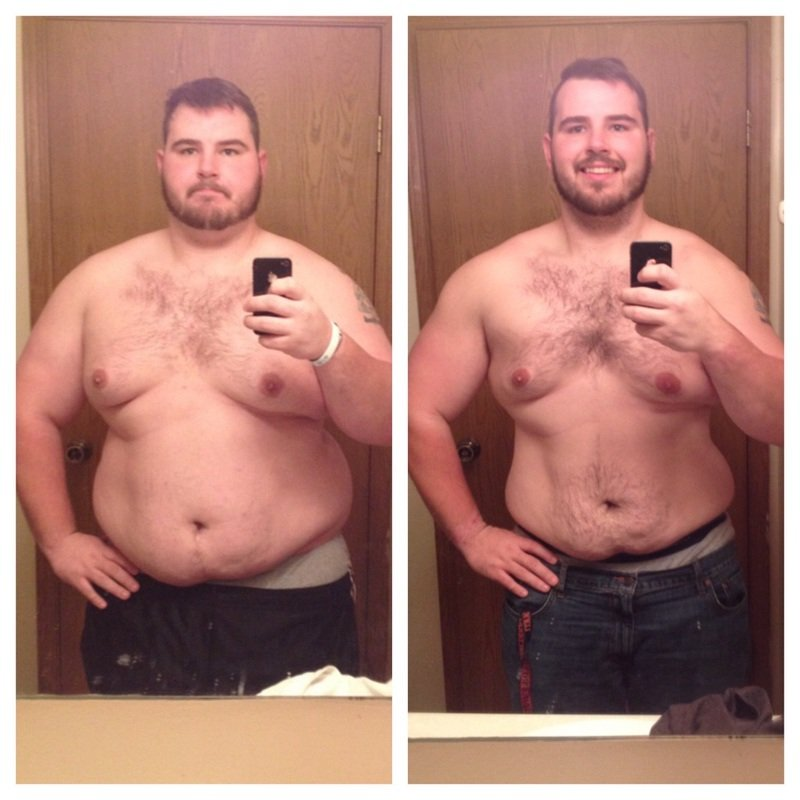 82 lbs Fat Loss Before and After 5 feet 10 Male 352 lbs to 270 lbs