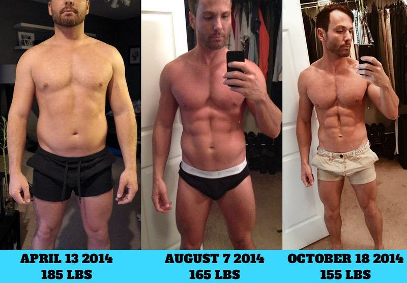 Before and After 30 lbs Fat Loss 5'8 Male 185 lbs to 155 lbs