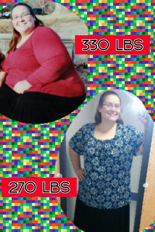5'3 Female Before and After 60 lbs Fat Loss 330 lbs to 270 lbs