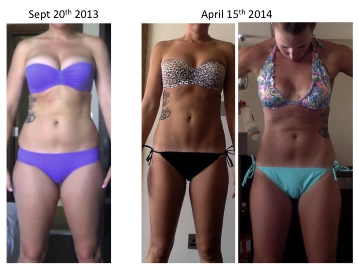 Before and After 20 lbs Fat Loss 5 foot 10 Female 175 lbs to 155 lbs