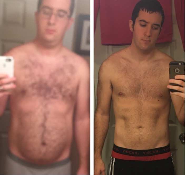 Before and After 30 lbs Weight Loss 6 foot 1 Male 206 lbs to 176 lbs