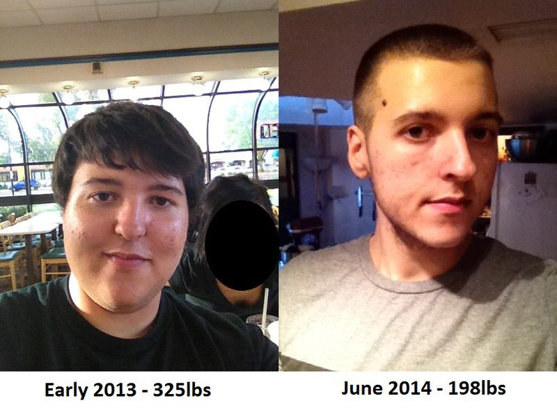 6 foot 6 Male Before and After 127 lbs Fat Loss 325 lbs to 198 lbs