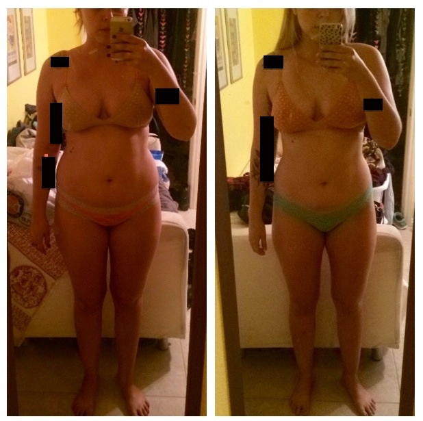 5 foot 8 Female Before and After 7 lbs Fat Loss 170 lbs to 163 lbs