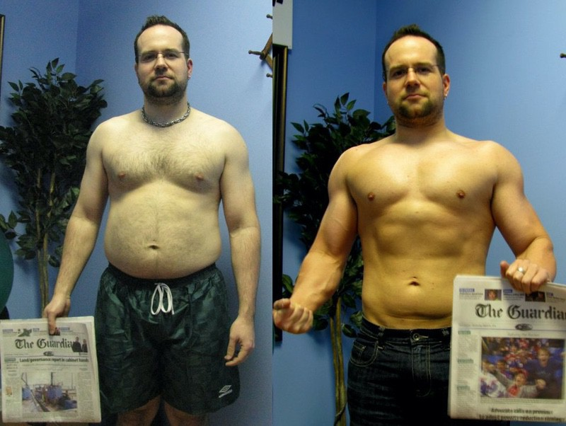 Before and After 23 lbs Fat Loss 5'7 Male 189 lbs to 166 lbs