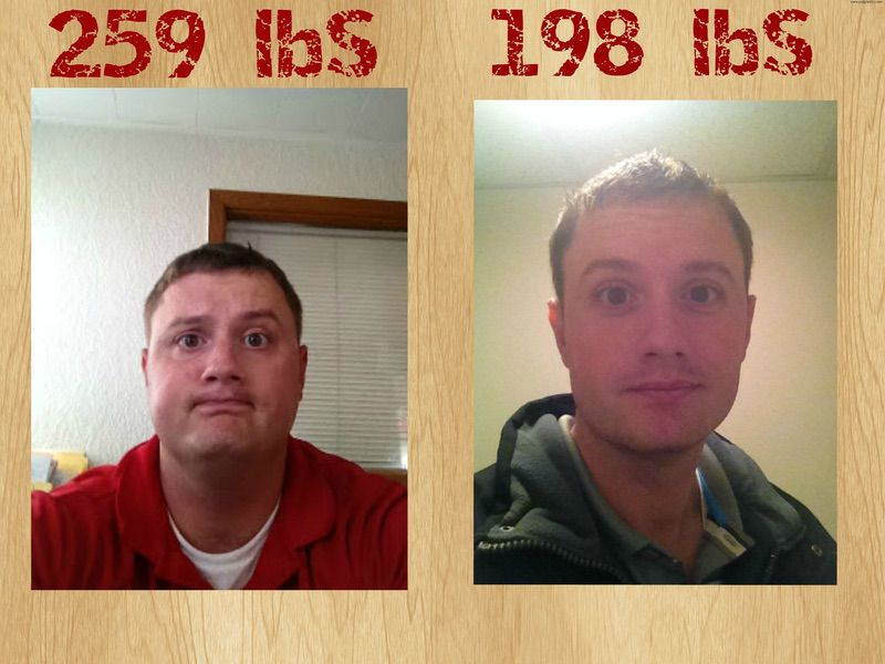 6 foot 1 Male 61 lbs Fat Loss Before and After 259 lbs to 198 lbs
