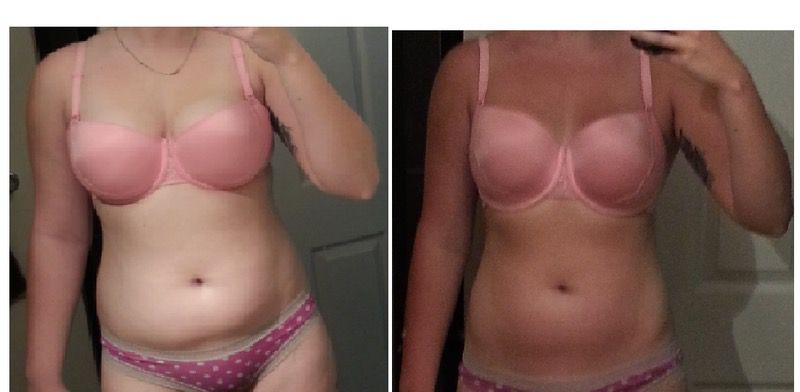 Before and After 35 lbs Fat Loss 6'1 Female 205 lbs to 170 lbs