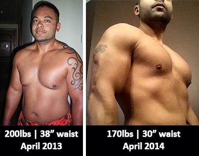 Before and After 30 lbs Fat Loss 5 foot Male 200 lbs to 170 lbs
