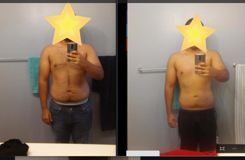 Before and After 23 lbs Weight Loss 6 feet 11 Male 245 lbs to 222 lbs