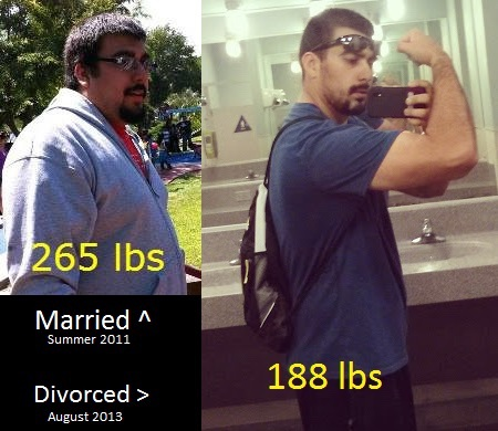 Before and After 77 lbs Weight Loss 6 foot Male 265 lbs to 188 lbs