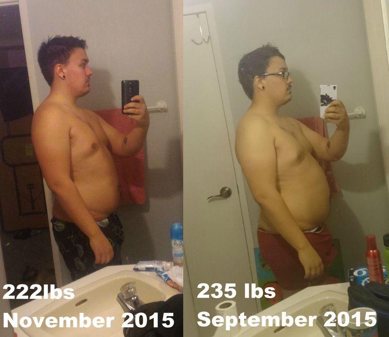 5 foot 11 Male 13 lbs Weight Loss 235 lbs to 222 lbs