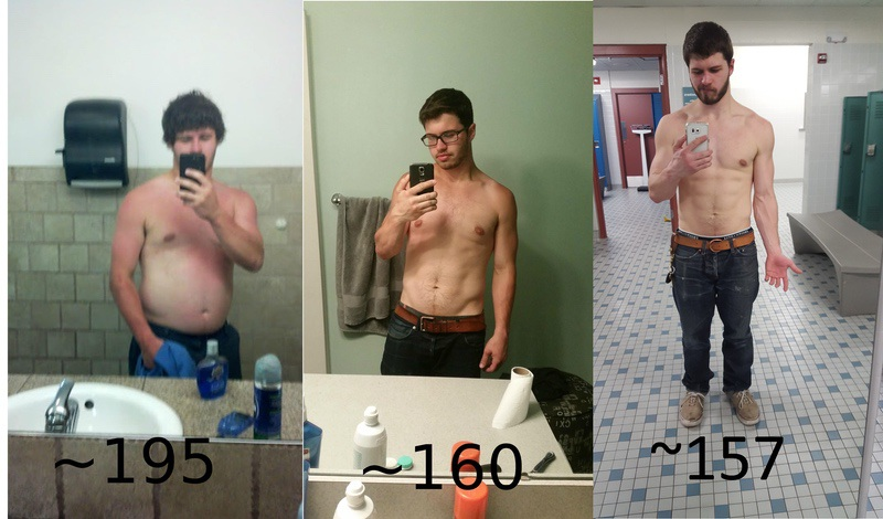 Before and After 38 lbs Fat Loss 5 foot 5 Male 195 lbs to 157 lbs