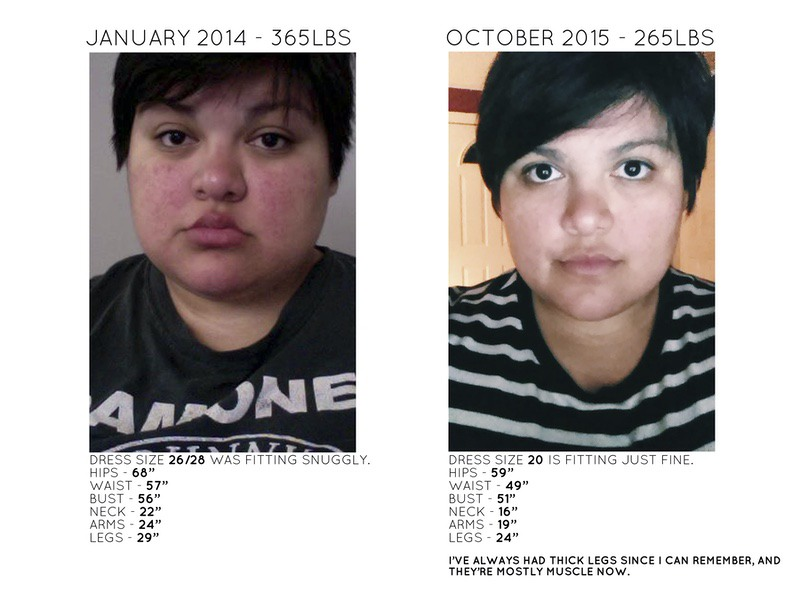 100 lbs Fat Loss Before and After 5 feet 7 Female 365 lbs to 265 lbs