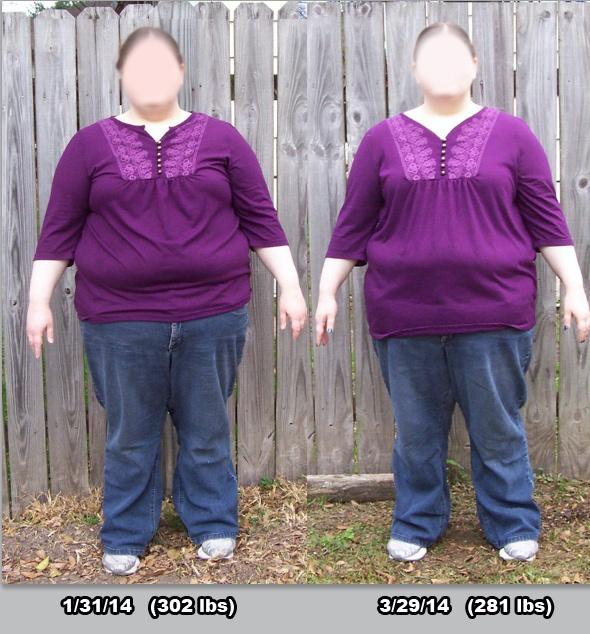 21 lbs Fat Loss 5 feet 3 Female 302 lbs to 281 lbs