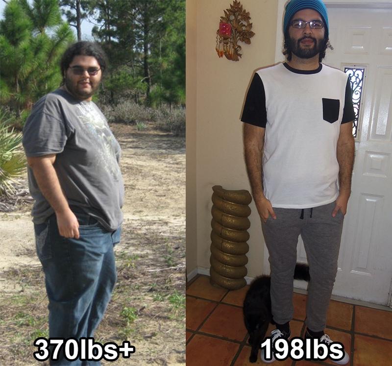 6 foot 1 Male 172 lbs Weight Loss 370 lbs to 198 lbs