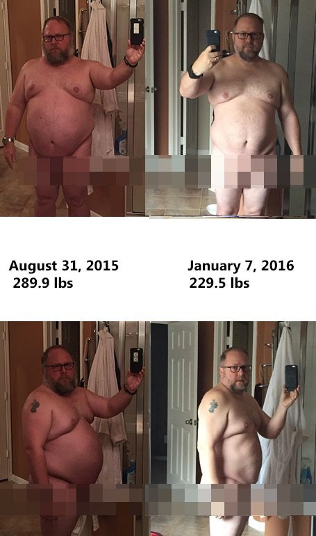 5 feet 7 Male 60 lbs Fat Loss Before and After 289 lbs to 229 lbs