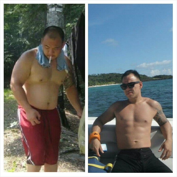 5'6 Male Before and After 70 lbs Fat Loss 225 lbs to 155 lbs