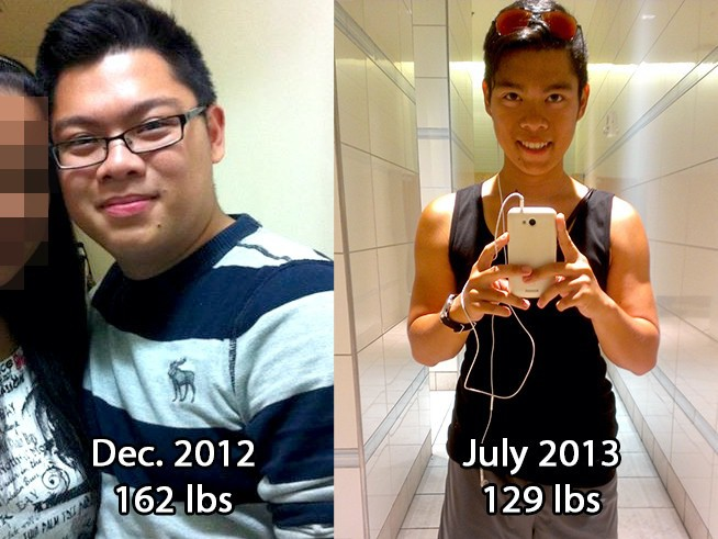 33 lbs Weight Loss Before and After 5 foot 3 Male 162 lbs to 129 lbs