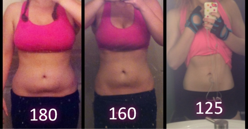 Before and After 55 lbs Weight Loss 5 foot 5 Female 180 lbs to 125 lbs