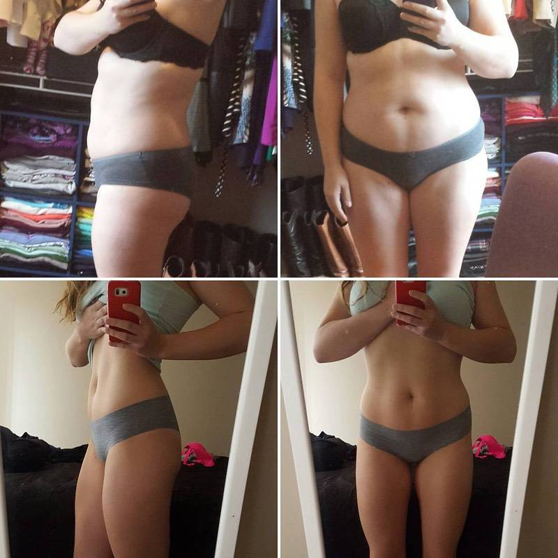 Before and After 45 lbs Weight Loss 5 feet 10 Female 215 lbs to 170 lbs