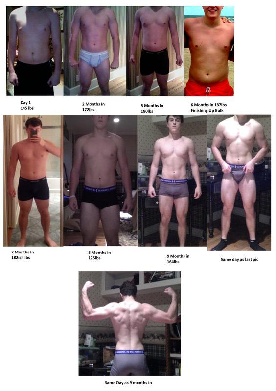 Before and After 19 lbs Muscle Gain 5'10 Male 145 lbs to 164 lbs