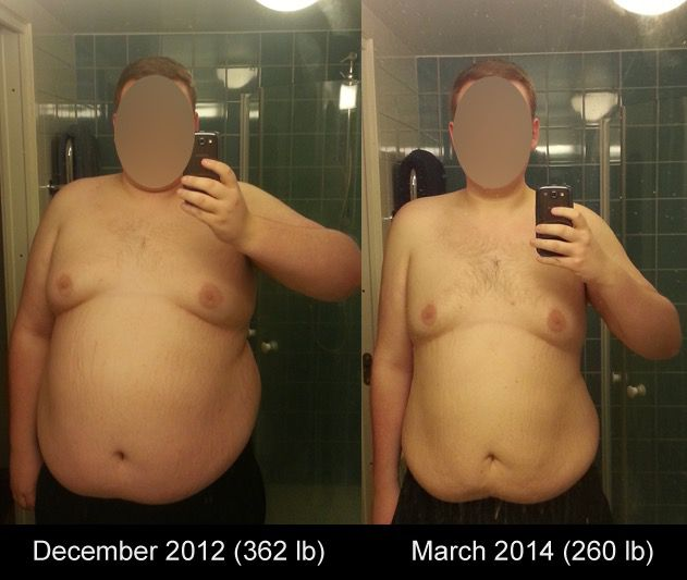 Before and After 102 lbs Weight Loss 6'2 Male 362 lbs to 260 lbs