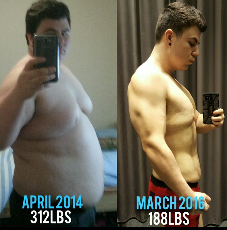 Before and After 124 lbs Fat Loss 5 feet 9 Male 312 lbs to 188 lbs